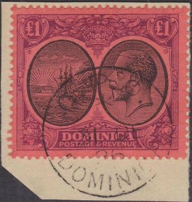 DOMINICA KGV 1923-33 Issue £1 Scott 85  SG91  Used Tied to Piece by CDS cv £350