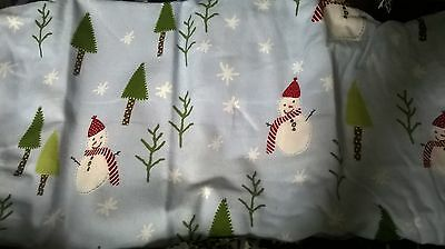 NEW Pottery Barn Kid Blue SNOWMAN Crib SHEET flannel toddler bed
