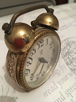 Very Pretty Little Vintage French Brass Jaz Clock