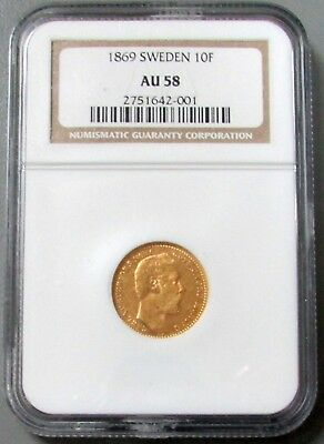 1869 Gold Sweden Carolin, 10 Francs Carl Xv Adolf Coinage Ngc About Unc. 58