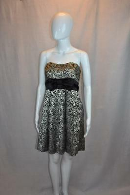 Speechless size 11 Gold and Black Fit and Flare Strapless Juniors Formal Dress