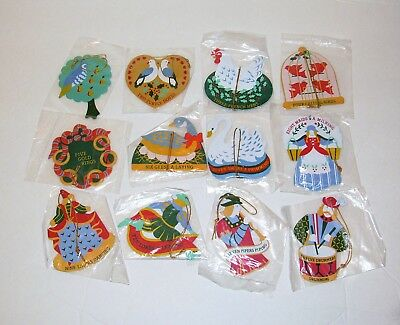 Avon 12 Days of Christmas Metal Flat Christmas Ornaments Painted Both Sides