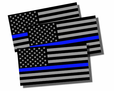 "3x Support Police Sticker Decal USA Flag Thin Blue Line 2nd Amendment 2A 4"" Each"