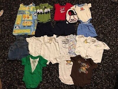 Baby Boy Size 0-3 Month Summer Clothing Clothes Bundle Lot 18 piece