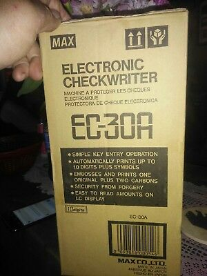 Max Electronic Checkwriter-Personal, Business Check Writer Embossed Printer NEW
