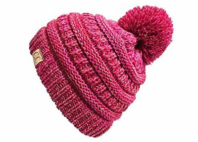 314f322c097b9 New Kids Baby Toddler Cable Knit Children s Pom Winter Hat Beanie Pink Age 2 -7