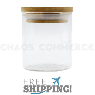 Premium Glass Stash Storage Herb Spice Jar with Pop Top Bamboo Lid - 5 oz