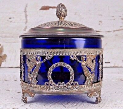 VERY RARE Antique French 1800s Sterling Silver Cobalt Crystal Sugar Casket Bowl
