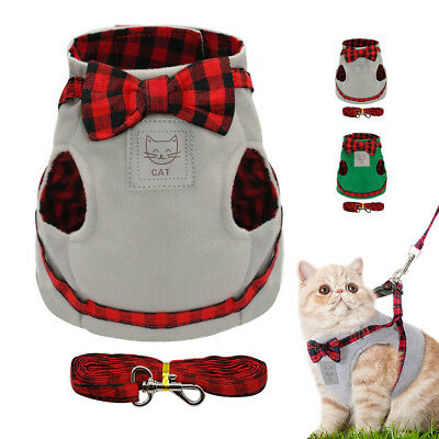 Soft Cotton Cat Harness and Leash set Cute Small Puppy Kitten Vest Clothes S M L