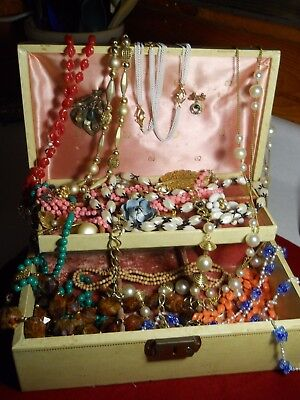 Large Lot Of Costume Jewelry & Vintage Jewelry Box From Estate Sale