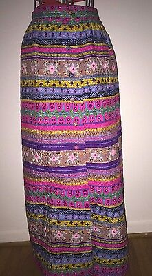 Vintage Alex Coleman California Skirt Xs~Psychedelic~Maxi~Hostess~Hippy~Quilted