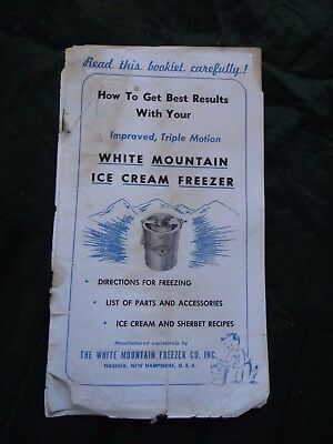 White Mountain Ice Cream Freezer manual and recipes vintage booklet