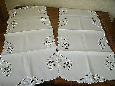 Lot of 2 Vintage white Linen Table Runner Embroidered Cutwork 15 x 37 (J7)