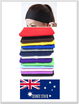 Plain Color Cotton Elastic Stretch Headband 7cm Wide Yoga Sports Gym Sweatband