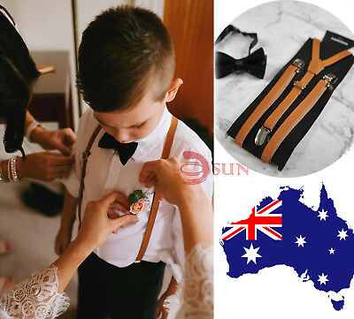 Kids Boys Black Bowtie Bow tie Brown Leather Suspenders Braces Wedding Set