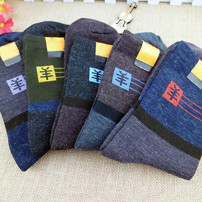 5 Pairs Men's Thick Thermal Wool Cashmere Casual Sport Winter Warm Dress Socks