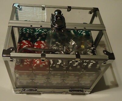 """""""POKER CHIP"""" Six Tray Acrylic Locking Storage Case-Clear w/Chips, Handle and Key"""