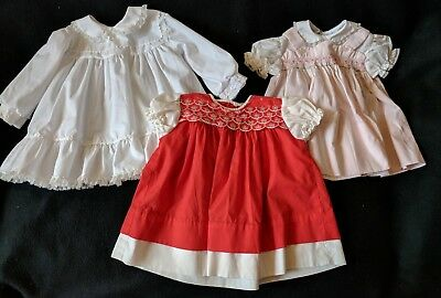 LOT 3 Vintage Baby Girl Doll Dresses Smocking Red White Pink