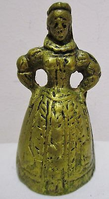 Antique Vintage Metal Brass Victorian Woman Queen Figure Table Dinner Tea Bell