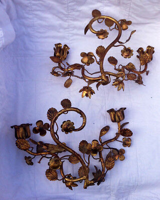 Beautiful Pair of Italian Hollywood Regency Gilt Metal Tole Flower Sconces