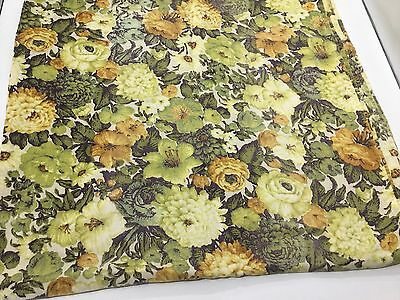 Vintage 1970s Avocado Green Harvest Gold Floral Flower Oblong Tablecloth Fabric