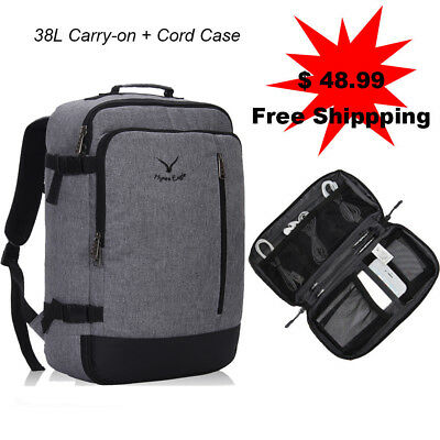 38L Flight Approved Weekender Carry on Backpack w/ Travel Cable Cord Organizer