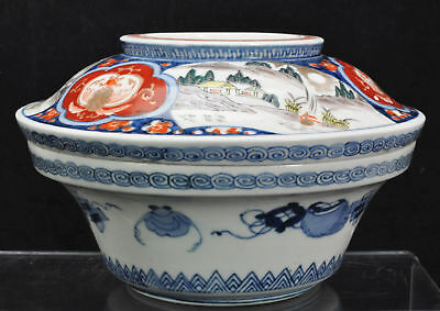 Antique Japanese Imari Hand Painted Porcelain Covered Serving Bowl