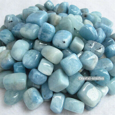 1/2lb Natural Tumbled Blue Aquamarine Quartz Crystal Bulk Stones Reiki Healing