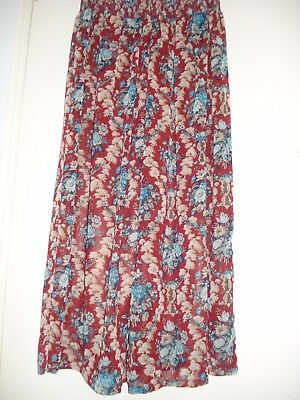 Chiffon Wide Pants, Retro Floral Pattern from Japan, Almost New