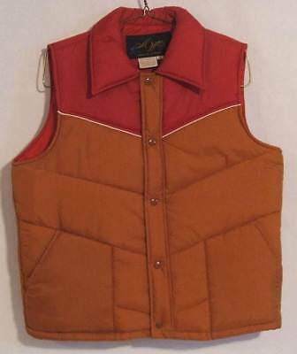NEAR MINT VTG 70s MONTGOMERY WARD INSULATED WESTERN STYLE PUFFER VEST - Sz LARGE
