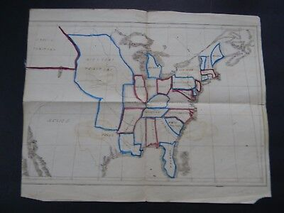 TWO ANTIQUE HAND DRAWN HAND COLORED MAPS of the USA & NEW ENGLAND circa 1845