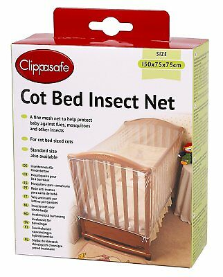 Clippasafe Strong Cot Bed Insect Net White Baby Safety Fine Mesh Mosquito Net
