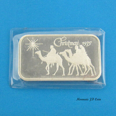 Vintage Silver Bar 1975 Madison Mint Christmas 1 oz .999 Fine Silver #H
