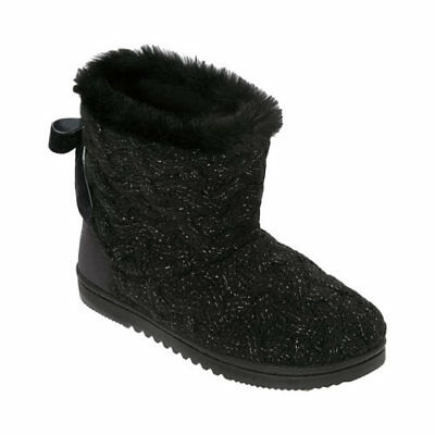 Dearfoams Women's   Lurex Basketweave Tie-Back Boot