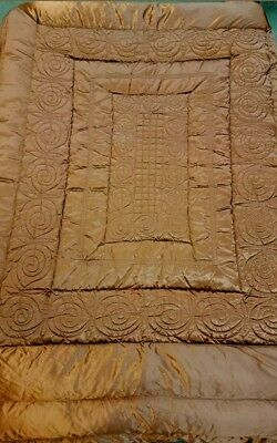 VINTAGE HOLLYWOOD GLAM COPPER SATIN GOOSE DOWN 78x90 COMFORTER/QUILT BEDSPREAD