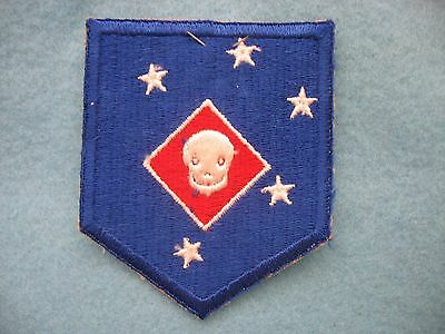 Mint New Old Stock WWII USMC 1st MAC Raiders large smiley skull patch Wosk Tag