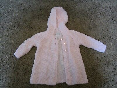 First Impressions baby girl knit sweater/top hooded 12m pink