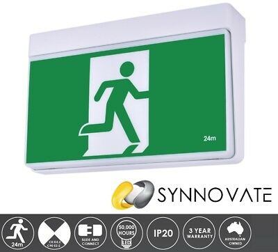 PREMIUM LED Emergency Exit Sign Light Ceiling Wall Mount Slide Connect 24m 3YR