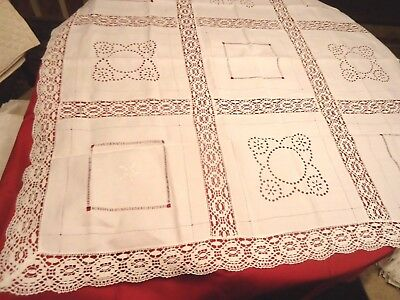 "Antique Vtg Tablecloth Embroidered Crochet Cut Pull Out Work Inserts 46""Sq Linen"