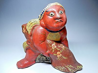 "Vintage Japanese Clay Flok Ningyo Doll red Fisherman with Impact H21cm 8.2"" 870g"