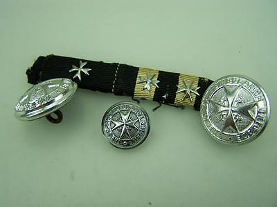 St.John Ambulance silver tone buttons and studded medal ribbon bar          2154