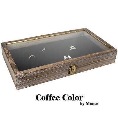 Display Box Wood Glass Top Lid Black Pad Case Medals Awards Jewelry Coffee New