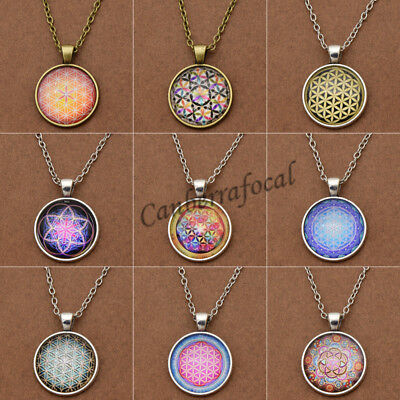 Retro Flower of Life Cabochon Glass Pendant Necklace Jewelry Sacred Charm Gift