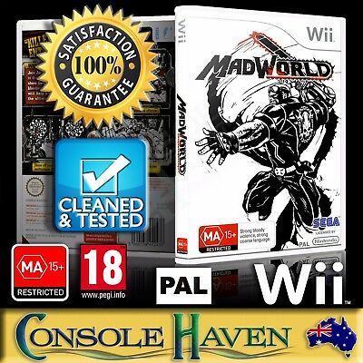 (Wii Game) Madworld / Mad World (MA) (Action / Horror) PAL, Guaranteed, Cleaned