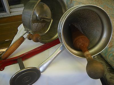 Vint. Foley Food Mill/Potato Masher With Wood Handles & Ricer w/Wooden Pestle et