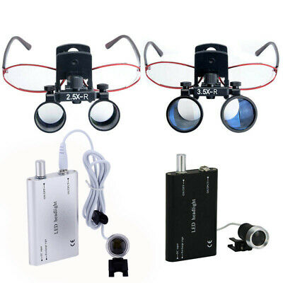Clip Type Dental Surgical Medical Binocular Loupes Magnifier W/ LED Headlight