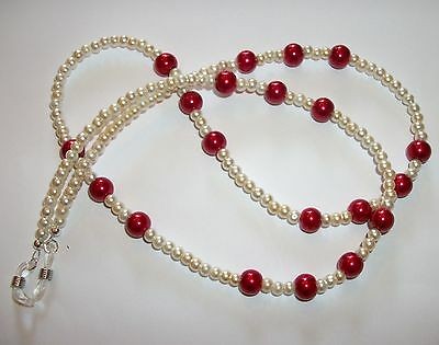 #in Rosso# Maroon Cream Glass Pearl Glasses Retainer Chain Uk Seller Specs Cord