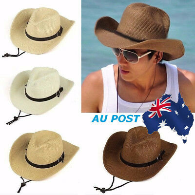 Mens Summer Cowboy Straw Wide Brim Hat Collapsible Fedora Trilby Sun Panama Caps