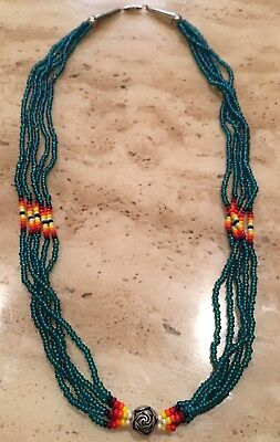Vintage Old Pawn Native American Sioux .925 Sterling Silver & Bead Necklace