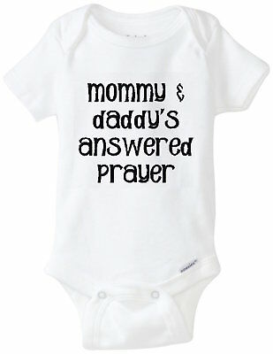 Prayer Answered Mommy Daddy Gerber Onesie Funny Baby Infant Shirt Shower Gift